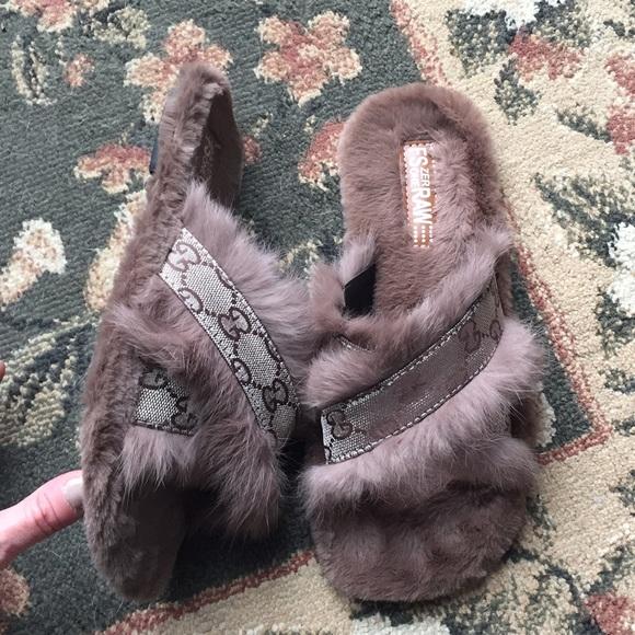 Real Rabbit Fur Home Slippers Slides